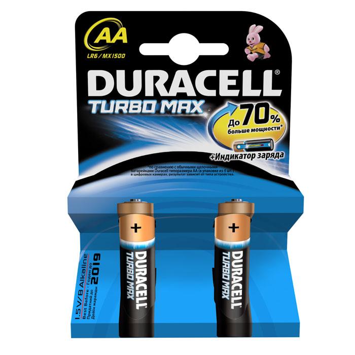 Набор алкалиновых батареек Duracell Turbo MAX, тип: AA, 2 шт30-1025Duracell Turbo Max является одной из наиболее мощных щелочных батареек среди представленных на рынке. Линейка Duracell Turbo Max разработана специально для применения в высокотехнологичных приборах, которым требуются источники энергии особой мощности.Не разбирать, не перезаряжать, не подносить к открытому огню. Не устанавливать одновременно новые и использованные батарейки, а также батарейки различных марок, систем и типов. При установке соблюдать полярность (+/-). Хранить в недоступном для детей месте. Характеристики:Тип элемента питания: AA (LR6). Размер упаковки: 8,4 см x 1,5 см x 12 см. Комплектация: 2 шт.