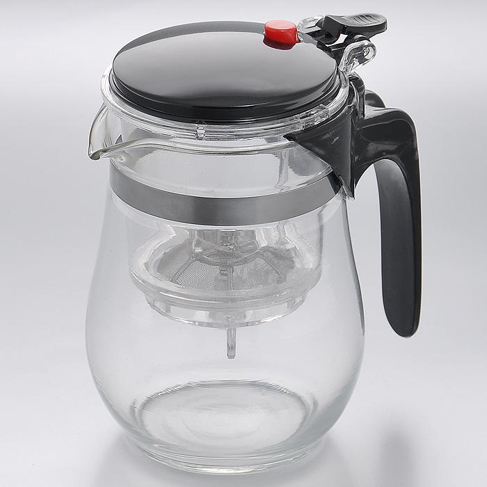 Чайник заварочный Mayer & Boch, с клапаном, цвет: черный, 0,5 л. MB402568/5/2Заварочный чайник Mayer & Boch, выполненный из высококачественного стекла, практичный и простой в использовании. Съемный фильтр чайника оснащен водозапорным пластиковым клапаном, а в крышке имеется кнопка клапана. Пока кнопку клапана не нажимаете, чай не вытекает из фильтра, тем самым вы регулируете крепость напитка, его вкус и аромат. Современный дизайн полностью соответствует последним модным тенденциям в создании предметов бытовой техники. Характеристики:Материал: нержавеющая сталь, стекло, пластик. Объем:0,5 л. Высота (с учетом крышки):14 см. Диаметр колбы по верхнему краю:8,5 см. Высота стенки колбы:12 см. Размер фильтра:8 см х 8 см х 9,5 см. Артикул:MB4025.