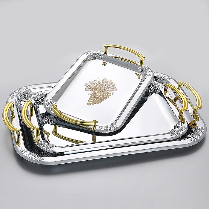 Набор подносов Mayer & Boch, 3 шт115510Набор Mayer & Boch состоит из трех прямоугольных подносов разного размера, выполненных из нержавеющей стали. Элегантные подносы украшены рельефным гроздями винограда. Подносы отлично подойдут для красивой сервировки различных блюд, закусок и фруктов на праздничном столе. Благодаря двум ручкам золотистого цвета подносы с легкостью можно переносить с места на место.Изящный дизайн подносов придется по вкусу и ценителям классики, и тем, кто предпочитает утонченность и изысканность, а также станет отличным подарком на любой праздник. Характеристики:Материал: нержавеющая сталь. Размер малого подноса: 26,5 см х 19 см. Размер среднего подноса: 34 см х 24 см. Размер большого подноса:41 см х 29 см. Размер упаковки:29,5 см х 45,5 см х 3,5 см. Производитель: Германия. Изготовитель: Китай. Артикул:MN3678.
