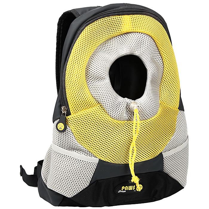 Переноска-рюкзак Crazy Paws для собак и кошек, цвет: желтый, серый. Размер Large ошейник crazy paws large 52x2 5cm black dpetc005 bk