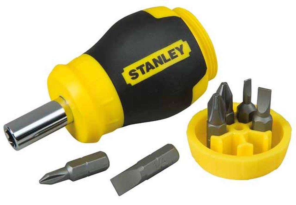 Отвертка Stanley Stubby Multibi +6 бит98298130Отвертка реверсивная с битами Stanley предназначена для монтажа/демонтажа резьбовых соединений с применением значительных усилий. Рукоятка, выполненная из двух материалов, с текстурой, для обеспечения максимального крутящего момента и комфорта пользователя. Имеет магнитный наконечник.В состав набора входятОтвертка для бит.Биты шлицевые: 4,5 мм, 6 мм.Биты крестовые: PH1, PH2, PZ1, PZ2. Характеристики: Материал: пластик, металл. Длина отвертки: 2 см. Длина ручки: 9 см. Размеры упаковки:16 см х 9 см х 4 см.