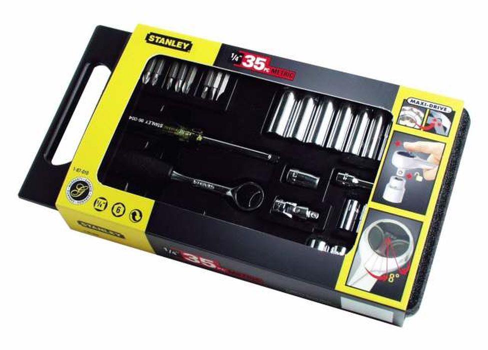 Набор Stanley, 1/4, 35 предметов2706 (ПО)Набор Stanley предназначен для монтажа и демонтажа резьбовых соединений.Это необходимый предмет в каждом доме, набор станет незаменимым в Вашем хозяйстве.В состав набора входит:Трещотка, 150 ммШарнир карданный2 удлинителя: 75 мм, 150 мм.Рукоятка 1/4Адаптер для вставок с шестигранным хвостовиком 1/4Биты плоские: 4 мм, 5,5 мм, 6,5 ммБиты крестовые: PH1, PH2, PH3, PZ1, PZ2Головки: 4 мм, 5 мм, 6 мм, 7 мм, 8 мм, 9 мм, 10 мм, 11 мм, 12 мм, 13 мм.Головки удлиненные: 4 мм, 5 мм, 6 мм, 7 мм, 8 мм, 9 мм, 10 мм, 11 мм, 12 мм, 13 мм.Кейс для хранения. Характеристики: Материал: пластик, хром-ванадий. Длина трещотки: 15 см. Длина удлинителей: 7,5 см, 15 см. Размеры кейса:34 см х 19 см х 5 см. Размеры упаковки:34 см х 19 см х 5 см.
