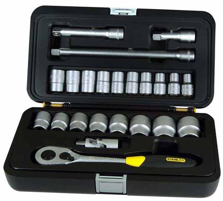 Набор головок с трещеткой Stanley, 1/2, 23 шт2706 (ПО)Набор головок с трещеткой Stanley предназначен для монтажа и демонтажа резьбовых соединений.Это необходимый предмет в каждом доме, набор станет незаменимым в вашем хозяйстве.В состав набора входит:ТрещеткаШарнир универсальный3 удлинителя: 75 мм, 125 мм, 250 мм.Головки 8 мм, 10 мм, 11 мм, 12 мм, 13 мм, 14 мм, 15 мм, 16 мм, 17 мм, 18 мм, 19 мм, 21 мм, 22 мм, 23 мм, 24 мм, 27 мм, 30 мм, 32 мм.Кейс для хранения. Характеристики: Материал: пластик, хром-ванадий. Длина трещетки: 25 см. Длина удлинителей: 7,5 см, 12,5 см, 25 см. Размеры кейса:31 см х 17 см х 9 см. Размеры упаковки:31 см х 17 см х 9 см.