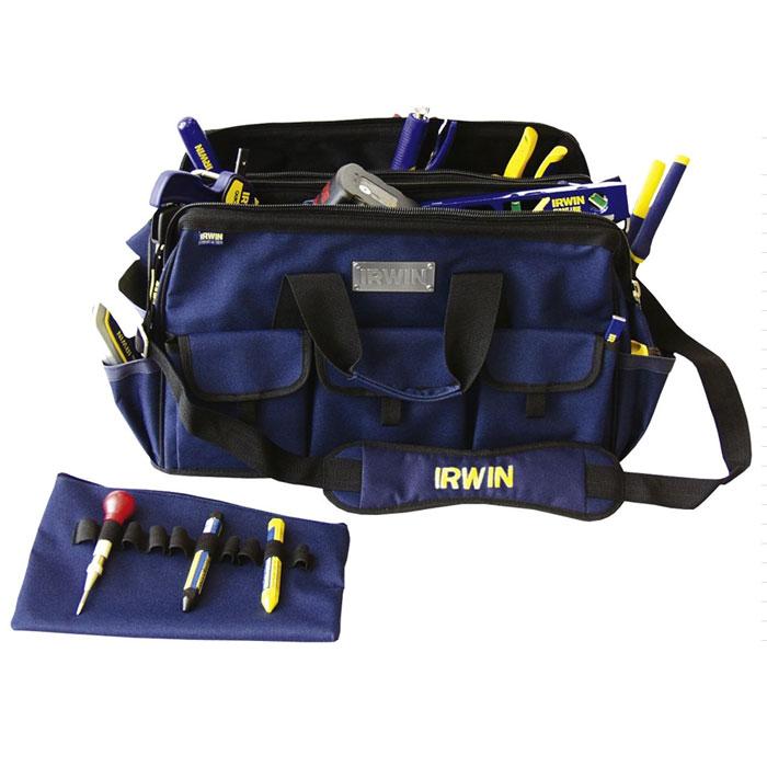 Сумка двойная Irwin для инструментов, широкая, цвет: синий, 50 х 32 х 30 см98298130Сумка двойная широкая для инструментов Irwin служит для хранения и транспортировки различного инструмента. Изготовлена из высококачественного материала, отличается хорошими прочностными характеристиками. Имеет два внутренних отделения и множество карманов, где удобно размещать все необходимые инструменты и аксессуары. В одном из внутренних отделений имеется 2 кармана (один на молнии) и 10 отсеков для инструментов. С внешней стороны 10 карманов (3 на липучке). Сумку легко переносить с помощью удобной ручки или плечевого ремня. Характеристики:Материал: полиэстер. Размер сумки: 500 мм х 320 мм х 300 мм. Размер в упаковке: 50 см х 32 см х 30 см.