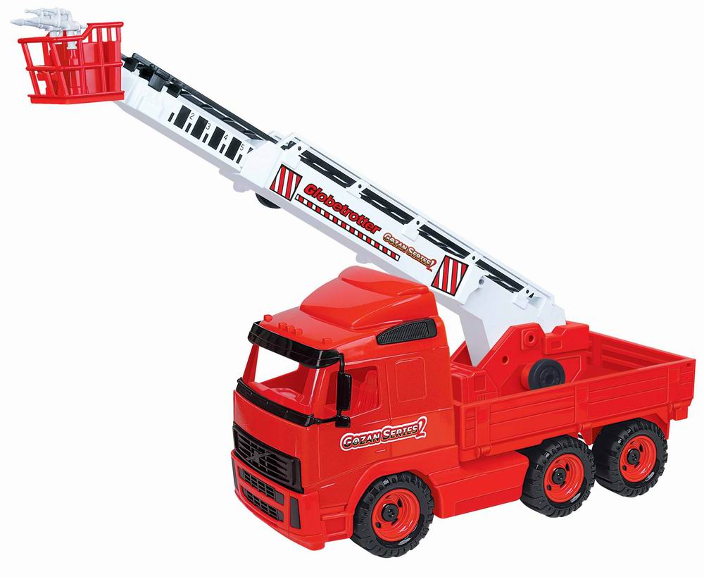 """Яркий пожарный автомобиль """"Полесье"""", обязательно понравится вашему малышу и займет его внимание надолго. Игрушка выполнена из пластика красного, белого и черного цветов. Пожарная машина оснащена выдвижной лестницей с корзиной. Ее угол наклона можно изменить, покрутив колесики, расположенные в основании лестницы. В корзине находятся два крутящихся брандспойта. Платформа с лестницей поворачивается. Шесть больших колес обеспечивают машине устойчивость и хорошую проходимость. Ваш маленький спасатель часами будет играть с пожарным автомобилем, придумывая различные истории. Порадуйте его таким замечательным подарком!"""