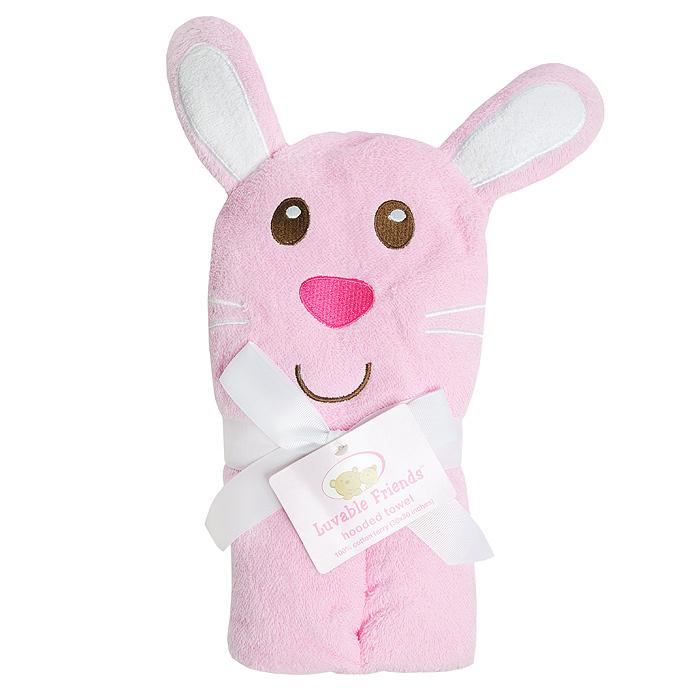 Полотенце с капюшоном Luvable Friends  Забавный зверек: Заяц , 76 см х 91 см, цвет: розовый - Полотенца