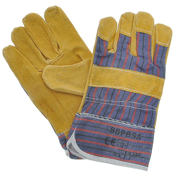 Перчатки рабочие кожаные, цвет: желтый, синий, 10,5531-105Кожаные рабочие перчатки предназначены для защиты рук во время строительных и погрузо-разгрузочных работ. Они изготовлены из натуральной свиной кожи, отличаются прочностью и износостойкостью. Перчатки позволяют крепко удерживать инструмент во время работы, препятствуя его выскальзыванию. Они удобны в эксплуатации и отлично защищают руки от грязи и механических повреждений. Характеристики: Материал: натуральная кожа, текстиль. Длина среднего пальца: 8,5 см. Общий размер перчаток (Д х Ш):26 см x 13 см. Артикул:12440.