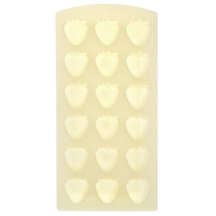 Форма для льда Клубника, цвет: желтый, 18 ячеекVT-1520(SR)Форма для льда Клубника выполнена из силикона желтого цвета. На одном листе расположены 18 ячеек в виде клубничек. Благодаря тому, что формочки изготовлены из силикона, готовый лед вынимать легко и просто. Чтобы достать льдинки, эту форму не нужно держать под теплой водой или использовать нож.Теперь на смену традиционным квадратным пришли новые оригинальные формы для приготовления фигурного льда, которыми можно не только охладить, но и украсить любой напиток. В формочки при заморозке воды можно помещать ягодки, такие льдинки не только оживят коктейль, но и добавят радостного настроения гостям на празднике! Характеристики:Материал: силикон. Цвет: желтый. Размер общей формы:11,5 см х 23 см х 2,5 см. Размер одной ячейки: 2,7 см х 2,7 см. Артикул: 25.35.27.