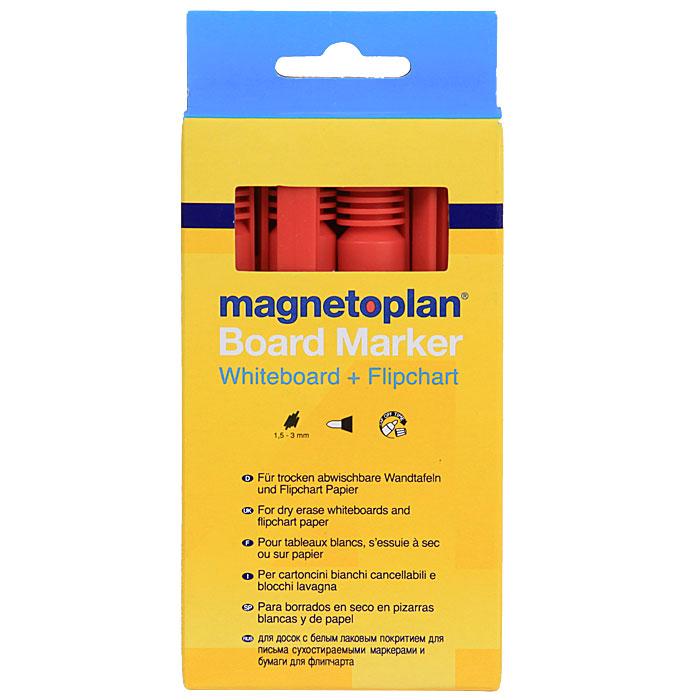 "Инновационные маркеры ""Magnetoplan"" предназначены для письма на маркерной поверхности и бумаге для флипчарта. Овальный пишущий узел. Толщина линии 1,5-3 мм. В комплект входят 4 маркера красного цвета."