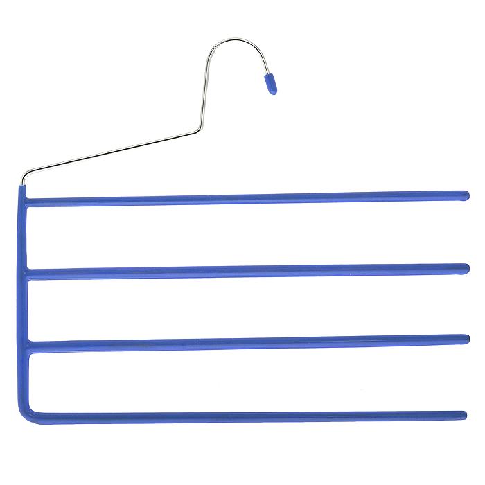 Вешалка для брюк Metaltex, 4 перекладины, цвет: синийБрелок для ключейВешалка Metaltex для брюк представляет собой четыре стальные перекладины, располагающиеся друг над другом. Каждая из перекладин имеет специальное резиновое покрытие, предотвращающее скольжение ткани.Вешалка - это незаменимая вещь для того, чтобы ваша одежда всегда оставалась в хорошем состоянии. Характеристики:Материал: сталь, пластмасса, резина. Цвет: синий. Размер: 33 см х 28 см. Производитель: Италия. Изготовитель:Китай. Артикул: 55.21.10.