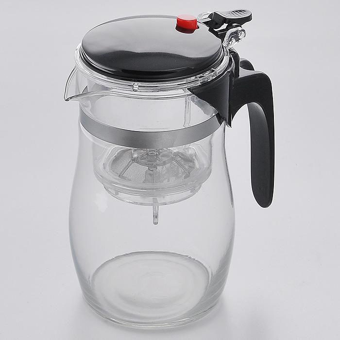 Чайник заварочный Mayer & Boch, цвет: черный, 0,75 л391602Заварочный чайник Mayer & Boch, выполненный из высококачественного стекла, практичный и простой в использовании. Съемный фильтр чайника оснащен водозапорным пластиковым клапаном, а в крышке имеется кнопка клапана. Пока кнопку клапана не нажимаете, чай не вытекает из фильтра, тем самым вы регулируете крепость напитка, его вкус и аромат. Современный дизайн полностью соответствует последним модным тенденциям в создании предметов бытовой техники. Характеристики:Материал: стекло, сталь, пластик. Объем чайника:0,75 л. Диаметр чайника:9 см. Высота чайника:16 см. Размер упаковки:12 см х 10 см х 17 см. Производитель:Германия. Изготовитель:Китай. Артикул:MB4023.