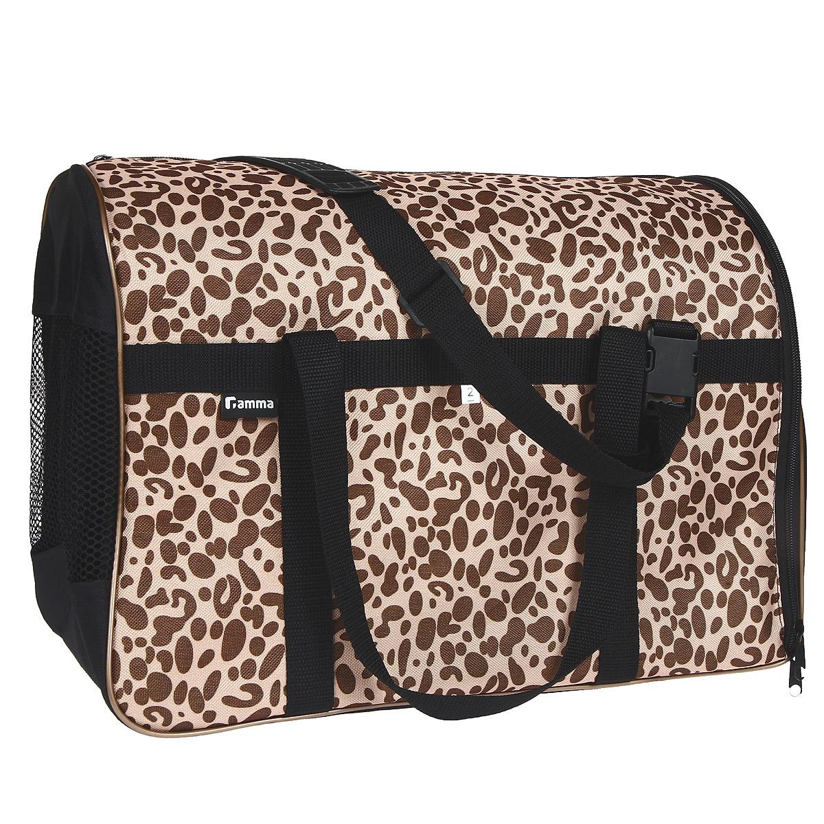 Сумка-переноска  Гамма  для животных, с сеткой, цвет: леопардовый, 42 см х 28 см х 31 см