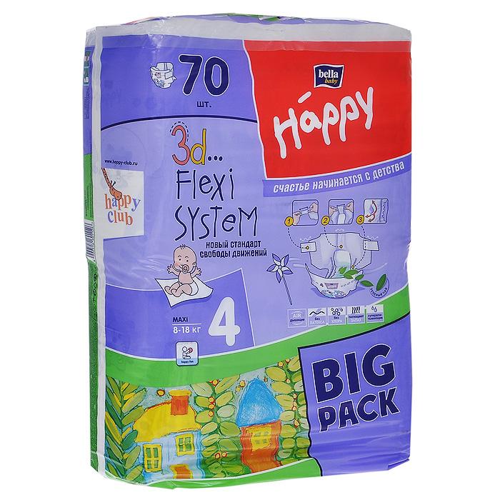 Bella baby Happy Подгузники, 8-18 кг, 70 шт влажные салфетки bella baby happy