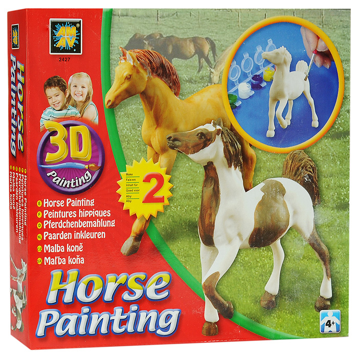 """В вашем доме растет маленький художник? Тогда ему стоит подарить набор для раскрашивания Amav """"Разрисуй лошадок 3D"""". Входящие в набор краски позволят превратить обычные гипсовые фигурки в яркие игрушки. Благодаря набору ваш ребенок научится пространственно мыслить, различать цвета, творчески решать поставленные задачи. В набор входят: 2 гипсовые фигурки лошадок, краски, кисточка, инструкция."""