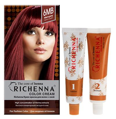 Крем-краска для волос Richenna с хной, 6MB. Красное дерево29003Крем-краска для волос Richenna с хной рекомендуется для безопасного изменения цвета волос, полного окрашивания седых волос и в случае повышенной чувствительности к искусственным компонентам краски для волос. Высокая концентрация экстракта хны в составе крем-краски позволяет уменьшить повреждение волос, сделать их эластичными и здоровыми, придает волосам живой цвет и красивый блеск. Не раздражая кожу, крем-краска полностью закрашивает седину и обладает приятным цветочным ароматом. Упаковка средства в 2-х отдельных тубах позволяет использовать средство несколько раз в зависимости от объема и длины волос. Благодаря кремовой текстуре хорошо наносится и не течет. Время окрашивания 20-30 мин. Характеристики:Номер краски: 6MB.Цвет: красное дерево.Объем крем-краски: 60 г.Объем крем-окислителя: 60 г.Объем шампуня с хной: 10 мл.Объем кондиционера с хной: 7 мл.Производитель: Корея.В комплекте: 1 тюбик с крем-краской, 1 тюбик с крем-окислителем, 1 пакетик с шампунем, 1 пакетик с кондиционером, 1 пара перчаток, накидка, пластиковая тара, расческа-кисточка для нанесения и распределения крем-краски и инструкция по применению. Товар сертифицирован.Внимание! Продукт может вызвать аллергическую реакцию, которая в редких случаях может нанести серьезный вред вашему здоровью. Проконсультируйтесь с врачом-специалистом передприменением любых окрашивающих средств.