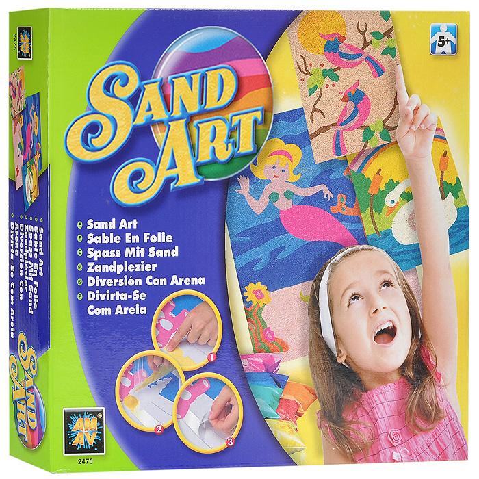"""Набор для создания картин из песка """"Sand Art"""" позволит вашему ребенку создать свои дизайнерские работы. Для этого необходимо снять липкий слой с картинки и аккуратно насыпать декоративный песок. В комплект набора входят: три картинки, шесть видов декоративного песка, две рамки. Оригинальные картины, созданные своими руками станут чудесным украшением интерьера детской комнаты или послужат прекрасным подарком друзьям и близким людям!"""