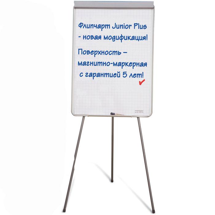 Флипчарт магнитно-маркерный Junior Plus1226901Магнитно-маркерный флипчарт Junior Plus -прекрасное решение для презентаций, семинаров, тренингов, совещаний. Магнитно-маркерная поверхность, предназначенна для письма маркерами сухого стирания. Окантован рамкой из анодированного алюминия. Флипчарт оснащен прижимной планкой и регулируемым установочным штифтом для любых, имеющихся в продаже блоков бумаги для флипчартов. Штатив-тренога позволяет регулировать высоту до 1,80 м. По всей ширине подвески, флипчарт снабжен закрепленным лотком для маркеров. В комплект поставки входит крепеж и сборочный инструмент. Поставляется в разобранном виде. Характеристики: Размер поверхности:70 см x 100 см. Изготовитель: Китай.