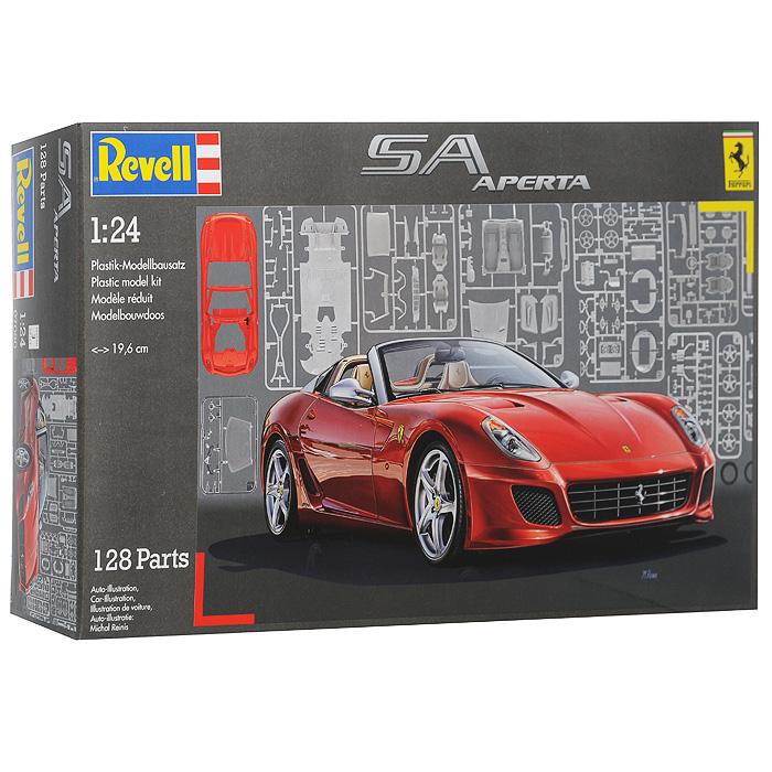 """Сборная модель """"Автомобиль Ferrari SA Aperta"""" позволит вам и вашему ребенку собрать уменьшенную копию одноименного итальянского кабриолета. Комплект включает в себя 128 пластиковых элементов для сборки модели и схематичную инструкцию. Кузов модели представлен в традиционном красном цвете, шины выполнены из настоящей резины, кузов и хромированные элементы покрашены, остальные - нет. Процесс сборки развивает интеллектуальные способности, воображение и конструктивное мышление, а также прививает практические навыки работы со схемами и чертежами."""