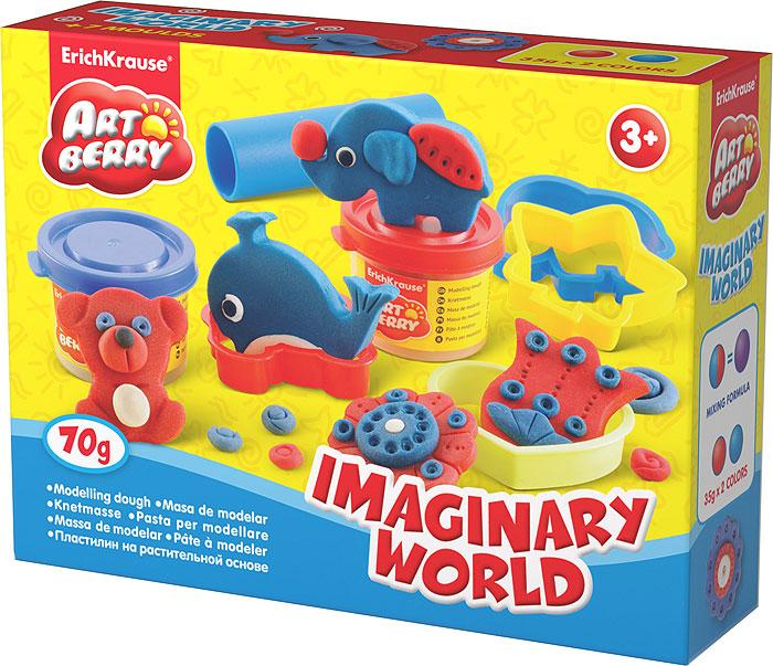 Набор для лепки (на растительной основе) Imaginary World, 2 цвета30368Пластилин на растительной основе Imaginary World - увлекательная игрушка, развивающая у ребенка мелкую моторику рук, воображение и творческое мышление. Пластилин легко разминается, не липнет к рукам и рабочей поверхности, не пачкает одежду. Цвета смешиваются между собой, образуя новые оттенки. Пластилин застывает на открытом воздухе через 24 часа. Набор содержит пластилин 2 цветов (красного и синего), 4 объемных формы, пресс, валик, стек. Пластилин каждого цвета хранится в отдельной пластиковой баночке. С пластилином на растительной основе Imaginary World ваш ребенок будет часами занят игрой. Характеристики:Общий вес пластилина: 70 г. Средний размер формочек: 5,5 см x 5 см x 1,5 см. Длина стека: 11 см. Размер валика: 9 см x 2,5 см x 2,5 см. Размер упаковки: 16 см x 11,5 см x 4 см. Производитель: Германия.