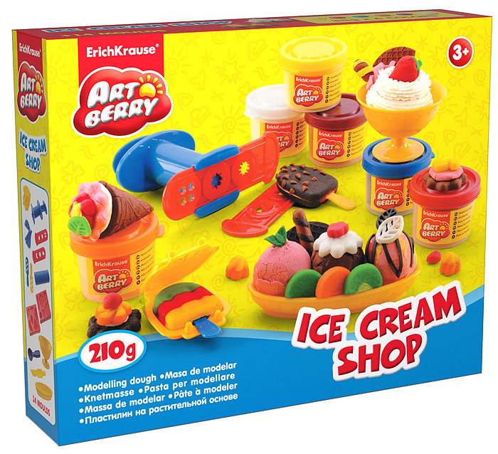 Набор для лепки (на растительной основе) Ice Cream Shop, 6 цветов12С 765-08Пластилин на растительной основе Ice Cream Shop - увлекательная игрушка, развивающая у ребенка мелкую моторику рук, воображение и творческое мышление. Пластилин легко разминается, не липнет к рукам и рабочей поверхности, не пачкает одежду. Цвета смешиваются между собой, образуя новые оттенки. Пластилин застывает на открытом воздухе через 24 часа. Набор содержит пластилин 6 цветов (малинового, белого, желтого, красного, оранжевого, синего), 2 объемных формы-трафарета, 2 плоских трафарета, 2 вафельницы, чашу, овальную тарелочку, ложечку, валик, пресс, 2 небольших лопатки, стек. Пластилин каждого цвета хранится в отдельной пластиковой баночке. С пластилином на растительной основе Ice Cream Shop ваш ребенок будет часами занят игрой.Характеристики:Общий вес пластилина: 210 г. Средний размер объемных трафаретов: 7,5 см x 6 см x 1 см. Средний размер плоских трафаретов: 10,5 см x 3 см. Средний размер вафельниц: 6 см x 4 см x 1,5 см. Длина стека: 11,5 см. Длина валика: 9 см. Длина пресса: 7,5 см. Размер тарелки: 11 см x 5,5 см x 1,5 см. Высота чаши: 4,5 см. Размер упаковки: 24 см x 18 см x 4,5 см. Изготовитель: Россия.