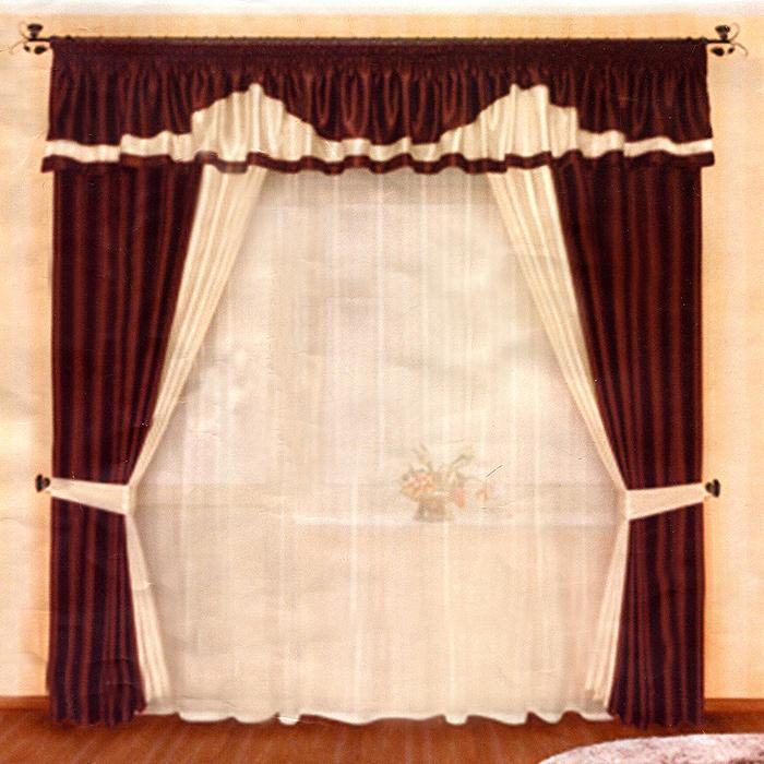 Комплект штор Венге, на ленте, цвет: коричневый, бежевый, высота 250 смБ004Комплект штор Венге, изготовленный из прочного полиэстера, станет великолепным украшением любого окна. В набор входят две плотные шторы, вуалевый белый тюль и ламбрекен. Также для более изящного расположения штор на окне прилагаются подхваты. При подгибе изделий использовалась атласная тесьма. Комплект имеет изысканный внешний вид и обладает яркостью и сочностью цвета. Все предметы комплекта на шторной ленте для собирания в сборки. Характеристики:Материал: 100% полиэстер. Цвет: коричневый, бежевый. Размер упаковки:28 см х 7 см х 40 см. Производитель: Польша. Изготовитель: Россия. Артикул: Б004.В комплект входит: Штора - 2 шт. Размер (ШхВ): 150 см х 250 см. Тюль - 1 шт. Размер (ШхВ): 500 см х 250 см. Ламбрекен - 1 шт. Размер (ШхВ): 500 см х 50 см. Подхват - 2 шт.УВАЖАЕМЫЕ КЛИЕНТЫ!Обращаем ваше внимание на цвет изделия. Цветовой вариант комплекта, данного в интерьере, служит для визуального восприятия товара. Цветовая гамма данного комплекта представлена на отдельном изображении фрагментом ткани.