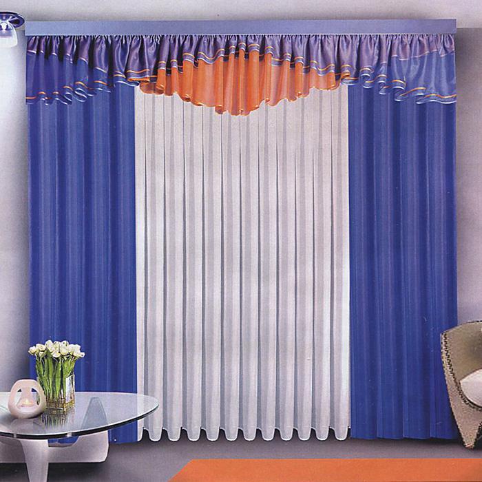 Комплект штор Zlata Korunka, на ленте, цвет: синий, белый, высота 250 смS03301004Комплект штор Zlata Korunka станет великолепным украшением любого окна. Комплект состоит из двух штор, тюля и ламбрекена, выполненных из легкого вуалевого полиэстера.Оригинальное дизайн и контрастная цветовая гамма привлекут внимание и органично впишутся в интерьер помещения. Все предметы комплекта оснащены шторной лентой для собирания в сборки. Характеристики:Материал: 100% полиэстер. Цвет: синий, белый. Размер упаковки:31 см х 41 см х 6 см. Производитель: Польша. Артикул: Б072.В комплект входит: Тюль - 1 шт. Размер (ШхВ): 500 см х 250 см. Штора - 2 шт. Размер (ШхВ): 150 см х 250 см. Ламбрекен - 1 шт. Размер (ШхВ): 500 см х 70 см.