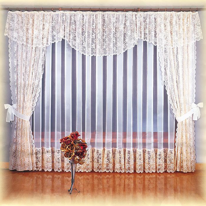 Комплект штор Maria, на ленте, цвет: белый, коричневый, высота 250 смS03301004Комплект штор Maria станет великолепным украшением любого окна. В набор входит тюль, две шторы и ламбрекен. Для более изящного расположения штор на окне прилагаются подхваты. Шторы изготовлены из легкого воздушного полиэстера коричневого цвета, тюль - из полиэстера белого цвета. Шторы, ламбрекен и нижняя часть тюля украшены изящными кружевными узорами. Тонкое плетение, оригинальный дизайн и нежная цветовая гамма привлекут к себе внимание и органично впишутся в интерьер комнаты. Все предметы комплекта оснащены шторной лентой для собирания в сборки. Характеристики:Материал: 100% полиэстер. Цвет: белый, коричневый. Размер упаковки:28 см х 37 см х 9 см. Артикул: 710461.В комплект входит: Тюль - 1 шт. Размер (ШхВ): 500 см х 250 см. Штора - 2 шт. Размер (ШхВ): 150 см х 250 см. Ламбрекен - 1 шт. Размер (ШхВ): 500 см х 70 см. Подхваты - 2 шт. Фирма Wisan на польском рынке существует уже более пятидесяти лет и является одной из лучших польских фабрик по производству штор и тканей. Ассортимент фирмы представлен готовыми комплектами штор для гостиной, детской, кухни, а также текстилем для кухни (скатерти, салфетки, дорожки, кухонные занавески). Модельный ряд отличает оригинальный дизайн, высокое качество. Ассортимент продукции постоянно пополняется.УВАЖАЕМЫЕ КЛИЕНТЫ!Обращаем ваше внимание на цвет изделия. Цветовой вариант штор, данных в интерьере, служит для визуального восприятия товара. Цветовая гамма данного комплекта представлена на отдельном изображении фрагментом ткани.