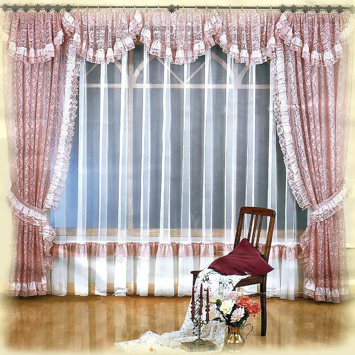 Комплект штор Melania, на ленте, цвет: белый, розовый, высота 250 см662036Комплект штор Melania великолепно украсит любое окно. Комплект состоит из двух штор, тюли и ламбрекена. Для более изящного расположения штор прилагаются подхваты. Шторы и ламбрекен, изготовленные из легкого полиэстера розового цвета с кружевными узорами, по краям оформлены рюшами. Тюль выполнен из полиэстера белого цвета и снизу оформлен сборками. Тонкое плетение, оригинальный дизайн и нежная цветовая гамма привлекут к себе внимание и органично впишутся в интерьер комнаты. Все предметы комплекта - на шторной ленте для собирания в сборки. Характеристики:Материал: 100% полиэстер. Цвет: белый, розовый. Размер упаковки:31 см х 40 см х 15 см. Артикул: 724147.В комплект входит: Штора - 2 шт. Размер (ШхВ): 150 см х 250 см. Тюль - 1 шт. Размер (ШхВ): 500 см х 250 см. Ламбрекен - 1 шт. Размер (ШхВ): 500 см х 50 см. Подхват - 2 шт. Фирма Wisan на польском рынке существует уже более пятидесяти лет и является одной из лучших польских фабрик по производству штор и тканей. Ассортимент фирмы представлен готовыми комплектами штор для гостиной, детской, кухни, а также текстилем для кухни (скатерти, салфетки, дорожки, кухонные занавески). Модельный ряд отличает оригинальный дизайн, высокое качество. Ассортимент продукции постоянно пополняется.