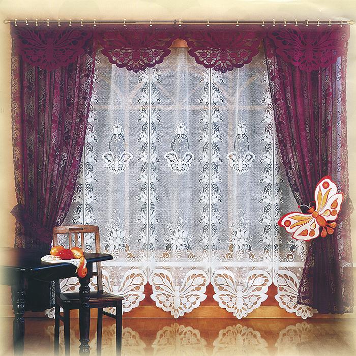 Комплект штор Manuela, на ленте, цвет: кремовый, белый, высота 250 см582266Комплект штор Manuela великолепно украсит любое окно. Комплект состоит из двух штор, тюли и ламбрекена. К комплекту прилагаются подхваты для более изящного расположения штор на окне. Шторы выполнены из легкого полиэстера и оформлены кружевными бабочками. Тонкое плетение, оригинальный дизайн и нежная цветовая гамма привлекут к себе внимание и органично впишутся в интерьер помещения. Все предметы комплекта оснащены шторной лентой для собирания в сборки. Характеристики:Материал: 100% полиэстер. Цвет: кремовый, белый. Размер упаковки:26 см х 37 см х 13 см. Артикул: 716302.В комплект входит: Штора - 2 шт. Размер (ШхВ): 150 см х 250 см. Тюль - 1 шт. Размер (ШхВ): 525 см х 250 см. Ламбрекен - 1 шт. Размер (ШхВ): 525 см х 50 см. Подхват - 2 шт. Фирма Wisan на польском рынке существует уже более пятидесяти лет и является одной из лучших польских фабрик по производству штор и тканей. Ассортимент фирмы представлен готовыми комплектами штор для гостиной, детской, кухни, а также текстилем для кухни (скатерти, салфетки, дорожки, кухонные занавески). Модельный ряд отличает оригинальный дизайн, высокое качество. Ассортимент продукции постоянно пополняется.УВАЖАЕМЫЕ КЛИЕНТЫ!Обращаем ваше внимание на цвет изделия. Цветовой вариант комплекта, данного в интерьере, служит для визуального восприятия товара. Цветовая гамма данного комплекта представлена на отдельном изображении фрагментом ткани.