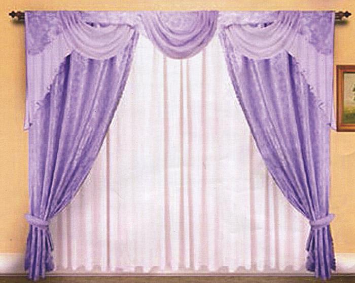 Комплект штор Zlata Korunka, на ленте, цвет: сиреневый, высота 250 см. Б007BH-UN0502( R)Комплект штор Zlata Korunka, изготовленный из прочного полиэстера сиреневого цвета, станет великолепным украшением любого окна. В набор входят две плотные шторы, вуалевый белый тюль и ламбрекен. Также для более изящного расположения штор на окне прилагаются подхваты. При подгибе изделий использовалась атласная тесьма. Комплект имеет изысканный внешний вид и обладает яркостью и сочностью цвета. Все предметы комплекта на шторной ленте для собирания в сборки. Характеристики:Материал: 100% полиэстер. Цвет: сиреневый. Размер упаковки:30 см х 7 см х 42 см. Производитель: Польша. Изготовитель: Россия. Артикул: Б007.В комплект входит: Штора - 2 шт. Размер (ШхВ): 150 см х 250 см. Тюль - 1 шт. Размер (ШхВ): 500 см х 250 см. Ламбрекен - 1 шт. Размер (ШхВ): 300 см х 40 см. Подхваты - 2 шт.УВАЖАЕМЫЕ КЛИЕНТЫ!Обращаем ваше внимание на цвет изделия. Цветовой вариант комплекта, данного в интерьере, служит для визуального восприятия товара. Цветовая гамма данного комплекта представлена на отдельном изображении фрагментом ткани.