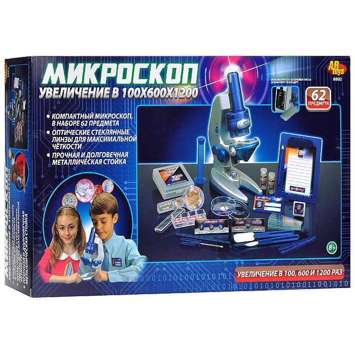 """Набор AB Toys """"Микроскоп"""" - чудесный подарок для ребенка, интересующегося устройством мира. Этот микроскоп имеет оптические стеклянные линзы для максимально четкого изображения, широкоугольный окуляр для лучшего обзора, быстрый и точный механизм фокусировки и прочную металлическую стойку, обеспечивающую микроскопу долговечность. Полный набор аксессуаров позволит заглянуть в каждую клеточку выбранного для изучения предмета. Микроскоп увеличивает предмет в 100, 600 и 1250 раз. В набор входят: микроскоп, лупа, предметные стекла с образцом, покрывающие стекла, покрывающие слайды, чистые этикетки, пузырьки для химических реактивов, пластиковые пробирки, чашка Петри, микро-инкубатор, отвертка, палочка для перемешивания, пинцет, скальпель, лопаточка, планшет с карандашом, бейдж и инструкция на русском языке. Этот набор поможет вашему ребенку сделать первый шаг на пути к удивительному миру науки!"""