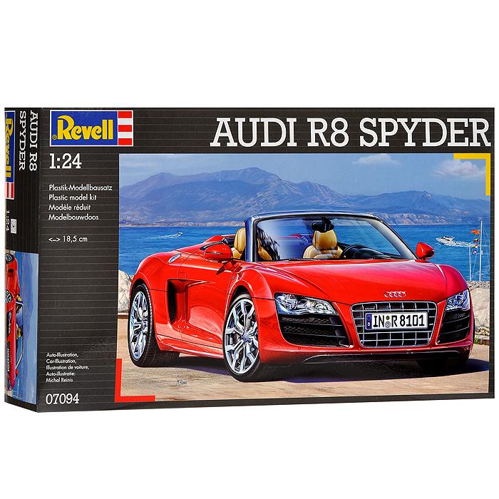 """Сборная модель """"Автомобиль Audi R8 Spyder"""" позволит вам и вашему ребенку собрать уменьшенную копию одноименного немецкого автомобиля. Комплект включает в себя 126 пластиковых элементов и схематичную инструкцию по сборке. Корпус машинки представлен в красном цвете, шины выполнены из настоящей резины. Хромированные элементы автомобиля покрашены, остальные - нет. Процесс сборки развивает интеллектуальные способности, воображение и конструктивное мышление, а также прививает практические навыки работы со схемами и чертежами."""