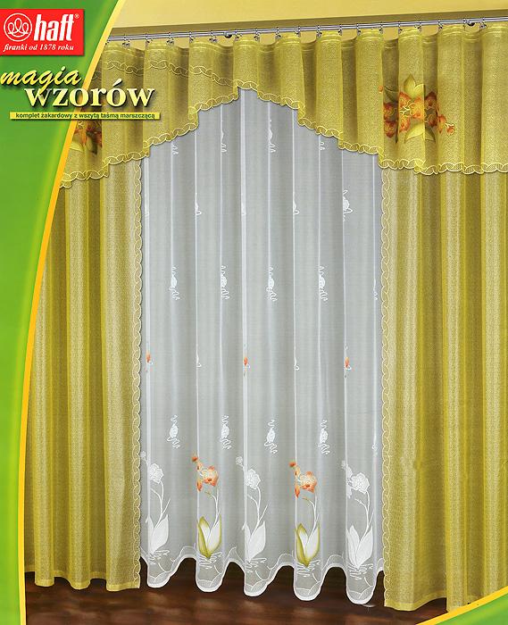Комплект штор Haft, на ленте, цвет: желто-зеленый, белый, высота 250 смSVC-300Комплект штор Haft великолепно украсит любое окно. Комплект состоит из тюля, двух штор и ламбрекена, украшенных изящными узорами. Шторы и ламбрекен выполнены из плотного полиэстера желто-зеленого цвета, тюль - из легкого полиэстера белого цвета.Тонкое плетение, изящный дизайн и необычная цветовая гамма привлекут к себе внимание и органично впишутся в интерьер помещения. Все предметы комплекта оснащены шторной лентой для собирания в сборки. Характеристики:Материал: 100% полиэстер. Цвет: желто-зеленый, белый. Размер упаковки:43 см х 52 см х 8 см. Артикул: 470366.В комплект входит: Штора - 2 шт. Размер (ШхВ): 150 см х 250 см. Тюль - 1 шт. Размер (ШхВ): 500 см х 250 см. Ламбрекен - 1 шт. Размер (ШхВ): 500 см х 60 см.