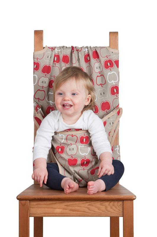 Дорожный детский стульчик Totseat, цвет: серый с яблочками