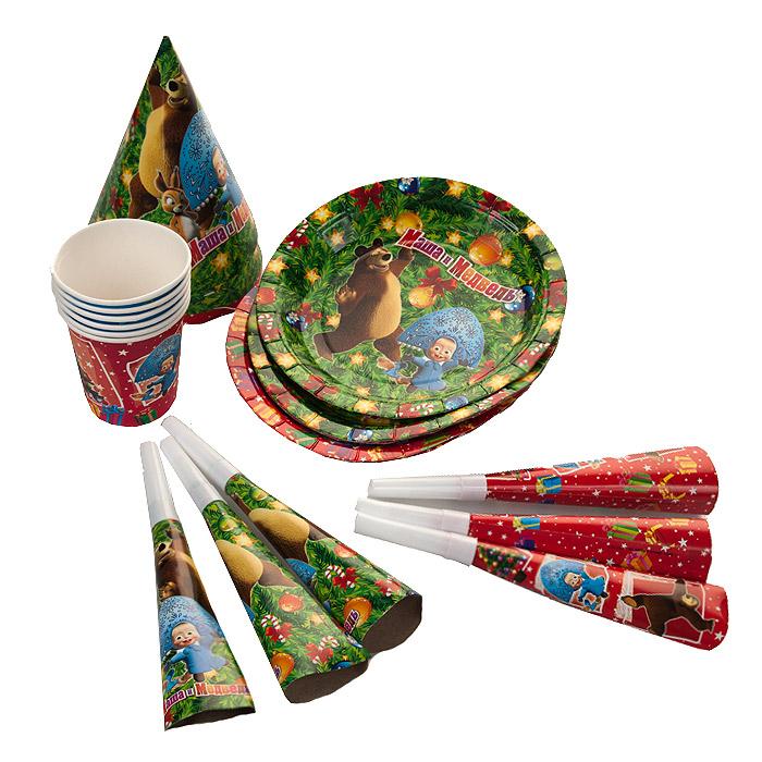 """Превратить праздник в яркое событие легко с набором для праздника Маша и Медведь """"Новый год!"""" Набор, рассчитанный на шесть персон, включает в себя 24 предмета: шесть тарелок, шесть стаканов, шесть бумажных колпачков и шесть карнавальных дудочек. Элементы набора оформлены красочными изображениями персонажей популярного мультфильма """"Маша и Медведь"""" с новогодней тематикой."""