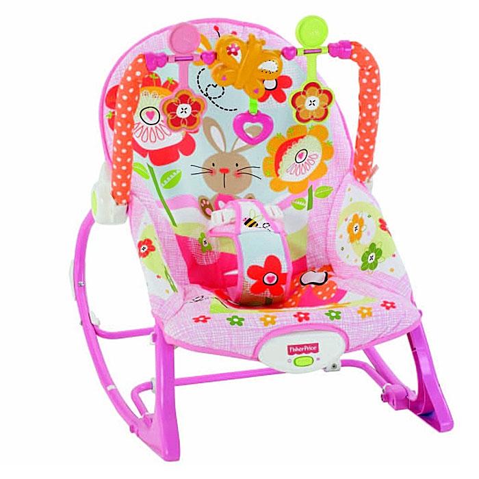"""Легкое и удобное кресло-качалка Fisher-Price """"Растем вместе"""" предназначено для детей с рождения до 18 кг. У кресла наклоняется спинка, и включаются вибрации, которые помогут малышу успокоиться. Убаюкивающие покачивания и глубокое удобное сиденье делают данное приспособление идеальным как для мамы, так и для малыша. Малыш фиксируется в кресле при помощи мягкого трехточечного ремня безопасности. Спинка кресла-качалки поднимается, обеспечивая более высокое положение для использования в качестве сиденья. Кресло оснащено откидывающейся подножкой, которая позволяет зафиксировать определенное положение для кормления или дневного сна. Кресло-качалка оснащено съемной игровой дугой, на которой крепятся две подвесные игрушки и музыкальная бабочка. В таком кресле-качалке вашему малышу будет максимально комфортно и безопасно. Рекомендуется докупить 1 батарею напряжением 1,5V типа D (не входит в комплект)."""