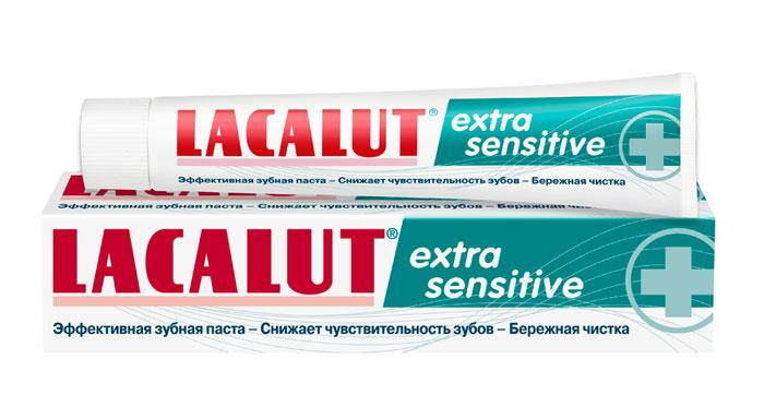 Lacalut Зубная паста Extra Sensitive, 50 мл5010777139655Зубная паста Lacalut Extra Sensitive - cверхмощное действие при гиперчувствительности зубов.За счет ацетата стронция запечатывает открытые дентинные канальцы, препятствуя воздействию раздражителей.За счет хлорида калия блокирует проведение болевых нервных импульсов.Интенсивно и атравматично реминерализует эмаль зубов.Моментально блокирует возникновение болезненных ощущений. Характеристики:Объем: 50 мл. Артикул: 666040. Производитель: Германия. Товар сертифицирован.