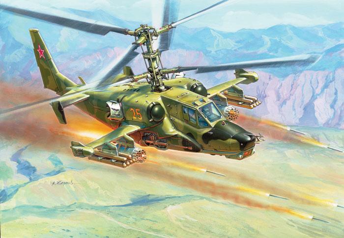 """Сборная модель """"Вертолет КА-50 """"Черная акула"""" привлечет внимание не только ребенка, но и взрослого и позволит своими руками создать уменьшенную копию российского ударного вертолета. Вертолет Ка-50 является уникальным средством борьбы как с наземными так и с воздушными целями. Это мощная, хорошо бронированная машина, управляемая одним человеком. Применение соосной схемы расположения винтов дает вертолету отличную маневренность, позволяя ему перемещаться боком, лететь назад, практически мгновенно менять направление движения и зависать на одном месте в течение 12 часов."""