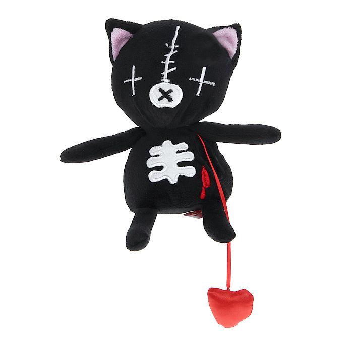 """Оригинальная дизайнерская игрушка Magic Bear Toys """"Кот живое сердце"""" выполнена в виде черного котика с атласным сердцем, вынимающимся из кармашка. Игрушка изготовлена из нетоксичного текстильного материала с коротким ворсом, благодаря чему ее будет приятно держать в руках. Такая игрушка порадует вас оригинальностью идеи и высоким качеством исполнения и станет прекрасным подарком для детей и взрослых."""