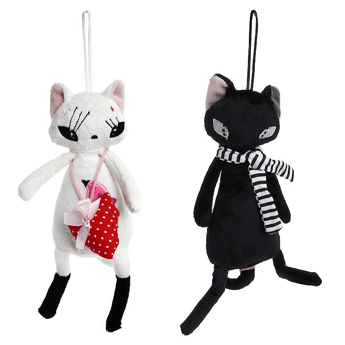 """Оригинальная игрушка Magic Bear Toys """"Коты Амантис"""" выполнены в виде черного кота и белой кошки с сердечком. Игрушки изготовлены из нетоксичного текстильного материала с коротким ворсом, благодаря чему их будет приятно держать в руках. Такая игрушка порадует вас оригинальностью идеи и высоким качеством исполнения и станет прекрасным подарком для детей и взрослых."""