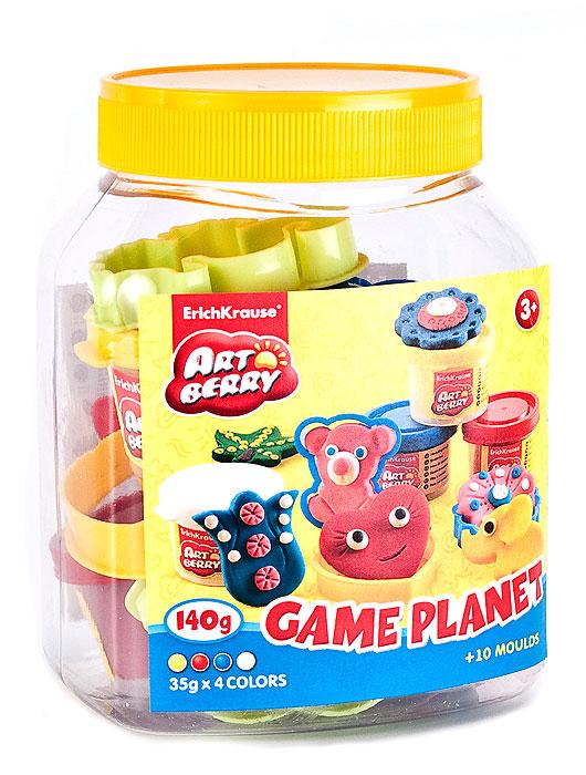 Пластилин на растительной основе Game Planet - увлекательная игрушка, развивающая у ребенка мелкую моторику рук, воображение и творческое мышление. Пластилин легко разминается, не липнет к рукам и рабочей поверхности, не пачкает одежду. Цвета смешиваются между собой, образуя новые оттенки. Пластилин застывает на открытом воздухе через 24 часа. Набор содержит пластилин 4 цветов (желтого, синего, красного, белого), 8 объемных формочек, ролик, стек. С пластилином на растительной основе Game Planet ваш ребенок будет часами занят игрой.           Характеристики:  Общий вес пластилина: 140 г. Средний размер формочек: 5,5 см x 3,5 см x 1 см. Длина стека: 11,5 см. Длина ролика: 10 см. Размер упаковки: 14 см x 10,5 см x 7,5 см. Изготовитель: Россия.