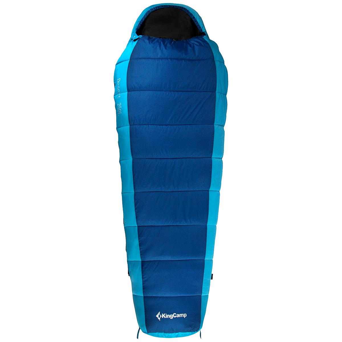 Спальный мешок-кокон KingCamp Desert 250L KS3185, левосторонняя молния, цвет: синий010-01199-23Спальник-кокон KingCamp Desert 250L - незаменимая вещь для любителей уюта и комфорта во время активного отдыха. Спальный мешок закрывается на двустороннюю застежку-молнию. Этот теплый спальный мешок спасет вас от холода во время туристического похода, поездки на рыбалку.Спальный мешок упакован в удобный нейлоновый чехол для переноски.
