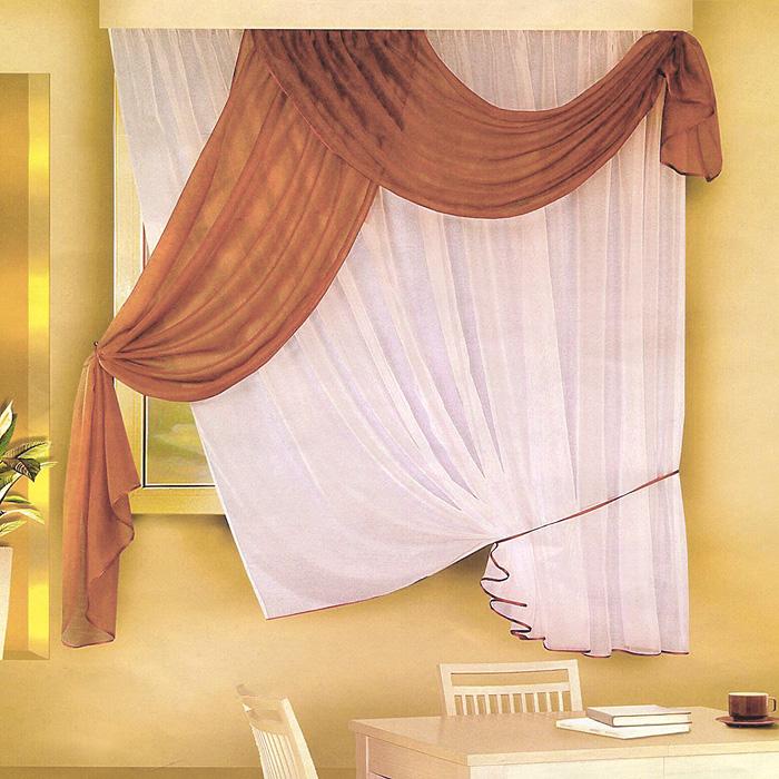Комплект штор для кухни Zlata Korunka, на ленте, цвет: белый, коричневый, высота 170 смSVC-300Комплект штор Zlata Korunka, изготовленные из легкого полиэстера, станут великолепным украшением кухонного окна. Оригинальный дизайн и приятная цветовая гамма привлекут к себе внимание и органично впишутся в интерьер. В набор входят две тюли и ламбрекен коричневого цвета. Для более изящного расположения тюли на окне прилагается подхват. Все элементы комплекта на шторной ленте для собирания в сборки. Характеристики:Материал: 100% полиэстер. Цвет: белый, коричневый. Размер упаковки:27 см х 2 см х 34 см. Производитель: Польша. Изготовитель: Россия. Артикул: Б066.В комплект входит: Тюль - 1 шт. Размер (ШхВ): 290 см х 170 см. Ламбрекен - 1 шт. Размер (ШхВ): 90 см х 170 см.УВАЖАЕМЫЕ КЛИЕНТЫ!Обращаем ваше внимание на цвет изделия. Цветовой вариант комплекта, данного в интерьере, служит для визуального восприятия товара. Цветовая гамма данного комплекта представлена на отдельном изображении фрагментом ткани