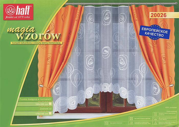 Комплект штор для кухни Haft, на ленте, цвет: белый, оранжевый, высота 175 см543930Комплект штор Haft, изготовленный из полиэстера оранжевого цвета, органично впишется в интерьер кухни. В набор входят две шторы и ажурный тюль белого цвета. Все элементы комплекта на шторной ленте для собирания в сборки. Характеристики:Материал: 100% полиэстер. Цвет: белый, оранжевый. Размер упаковки:38 см х 27 см х 5 см. Артикул: 543930.В комплект входит:Штора - 2 шт. Размер (ШхВ): 145 см х 175 см. Тюль - 1 шт. Размер (ШхВ): 300 см х 150 см.