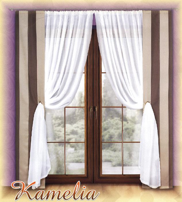 Комплект штор Kamelia, на ленте, цвет: белый, коричневый, бежевый, высота 250 см77619Комплект штор Kamelia станет великолепным украшением любого окна. В набор входят две шторы и две занавески. Для более изящного расположения на шторах предусмотрены люверсы (кольца), куда продеваются занавески. Шторы изготовлены из плотного полиэстера с принтом в вертикальную полоску кофейных оттенков. Вуалевые занавески выполнены из легкого и воздушного полиэстера белого цвета. Все предметы комплекта оснащены шторной лентой для красивой сборки. Характеристики:Материал: 100% полиэстер. Цвет: белый, коричневый, бежевый. Размер упаковки:39 см х 26 см х 7 см. Артикул: 720972.В комплект входит: Штора - 2 шт. Размер (ШхВ): 40 см х 250 см. Занавеска - 2 шт. Размер (ШхВ): 200 см х 250 см. Фирма Wisan на польском рынке существует уже более пятидесяти лет и является одной из лучших польских фабрик по производству штор и тканей. Ассортимент фирмы представлен готовыми комплектами штор для гостиной, детской, кухни, а также текстилем для кухни (скатерти, салфетки, дорожки, кухонные занавески). Модельный ряд отличает оригинальный дизайн, высокое качество. Ассортимент продукции постоянно пополняется.