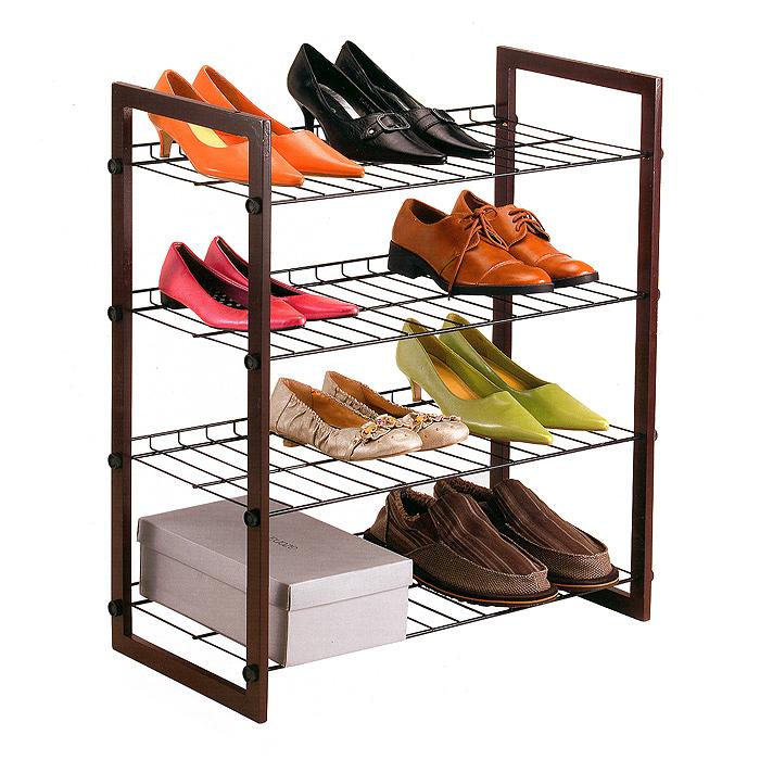 Полка для обуви 4-Tier Wood Stackable, 4-ярусаCM000001326Четырехъярусная полка 4-Tier Wood Stackable, изготовленная из натурального дерева, предназначена для хранения обуви. Подставки для обуви выполнены из окрашенного металла. Полка очень удобная и компактная, но в то же время вместительная. Она придется особенно, кстати, если у вас небольшая прихожая: займет минимум пространства. Полка легко собирается и разбирается. Характеристики:Материал: дерево, металл, пластик. Размер полки (ШхДхВ): 63 см х 31 см х 69,5 см. Максимальная нагрузка каждого яруса: 3 кг. Размер упаковки: 70,5 см х 33 см х 7 см. Артикул: 11020031-00101.