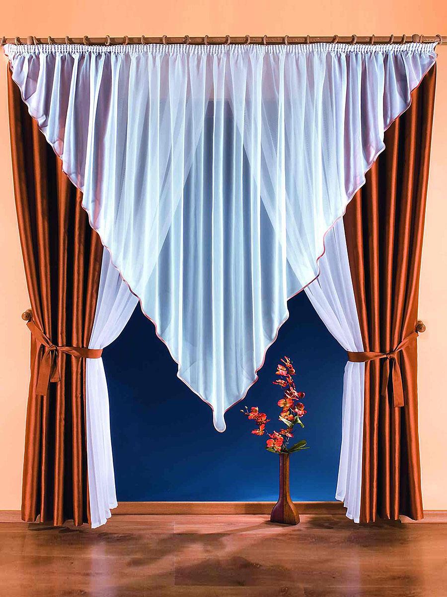 Комплект штор Marietta, на ленте, цвет: белый, коричневый, высота 250 смS03301004Комплект штор Marietta станет великолепным украшением любого окна или дверного проема. В набор входят две шторы, ламбрекен треугольной формы и две занавески. Для более изящного расположения штор и занавесок на окне или дверном проеме прилагаются подхваты. Шторы изготовлены из плотного полиэстера коричневого цвета с блестящим отливом. Вуалевые занавески и ламбрекен выполнены из легкого и воздушного полиэстера белого цвета. Все элементы комплекта на шторной ленте для собирания в сборки. Характеристики:Материал: 100% полиэстер. Цвет: белый, коричневый. Размер упаковки:32 см х 8 см х 40 см. Артикул: 746095.В комплект входит: Штора - 2 шт. Размер (ШхВ): 150 см х 250 см. Ламбрекен - 1 шт. Размер (ШхВ): 500 см х 200 см. Занавеска - 2 шт. Размер (ШхВ): 140 см х 250 см. Прихват - 2 шт.Фирма Wisan на польском рынке существует уже более пятидесяти лет и является одной из лучших польских фабрик по производству штор и тканей. Ассортимент фирмы представлен готовыми комплектами штор для гостиной, детской, кухни, а также текстилем для кухни (скатерти, салфетки, дорожки, кухонные занавески). Модельный ряд отличает оригинальный дизайн, высокое качество.Ассортимент продукции постоянно пополняется.УВАЖАЕМЫЕ КЛИЕНТЫ!Обращаем ваше внимание на цвет изделия. Цветовой вариант комплекта, данного в интерьере, служит для визуального восприятия товара. Цветовая гамма данного комплекта представлена на отдельном изображении фрагментом ткани.