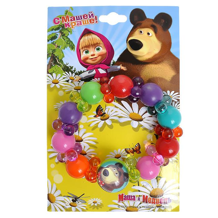 Браслет Маша и Медведь Цветные бусины264019Яркий браслет Маша и Медведь Цветные бусины состоит круглых бусин разных цветов, собранных на текстильную резинку. Один из элементов, имитирующих крупную бусину, оформлен изображением Мишки - героя популярного мультфильма Маша и медведь. Такой браслет непременно понравится вашей маленькой моднице. Порадуйте ее таким замечательным подарком! Характеристики:Материал: пластик, текстиль. Диаметр браслета в нерастянутом виде: 8 см.