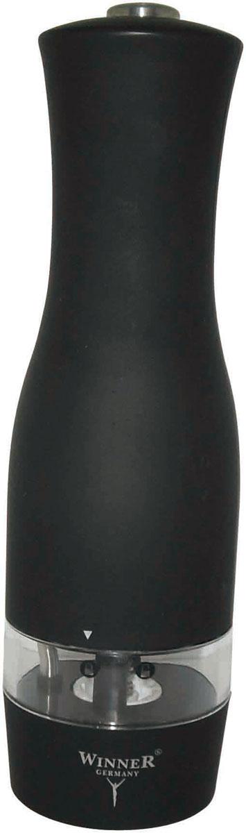 Мельница для перца Winner, электрическаяWR-4002Электрическая мельница для перца Winner предназначена для перемола всех видов перца, крупной соли и других специй. Она имеет керамический механизм помола. Корпус выполнен из пластика черного цвета со стеклянной емкостью. Винтовой механизм внизу корпуса используется для регулировки величины помола. При его повороте до упора достигается наименьшая величина помола. Для включения прибора необходимо держать нажатой верхнюю кнопку, для отключения - отпустить кнопку.Мельница оснащена подсветкой. Работает от шести батареек типа ААА. В комплекте - инструкция по эксплуатации. Такая мельница не только поможет вам с приготовлением пищи, но и стильно украсит любую кухню и станет полезным подарком. Характеристики:Материал: пластик, стекло, керамика. Высота мельницы: 19 см. Диаметр основания мельницы: 5,3 см. Цвет: черный. Объем: 14,5 г. Размер упаковки:6 см х 6 см х 20,5 см. Производитель: Германия. Изготовитель: Китай. Артикул: WR-4002. Рекомендуется докупить шесть батареек типа AAA (в комплект не входят).