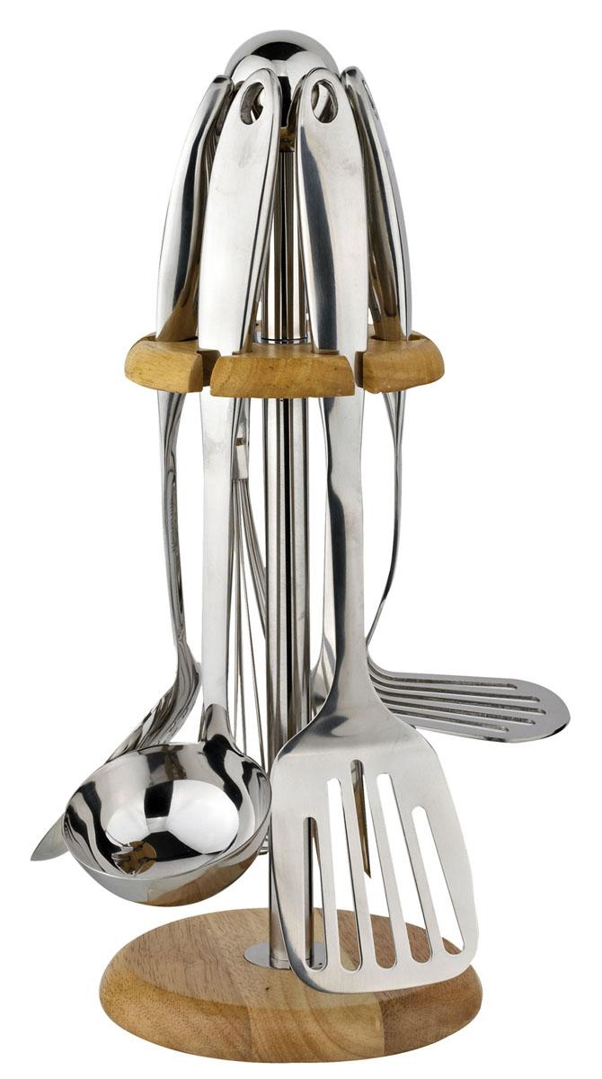 Набор кухонных принадлежностей Winner, 7 предметов6160NN01Набор кухонных принадлежностей Winner выполнен из высококачественной нержавеющей стали 18/10 c зеркальной поверхностью. Набор состоит из половника, шумовки, лопатки, картофелемялки, вилки, венчика, подставки деревянной с нержавеющей сталью. Эксклюзивный дизайн, эстетичность и функциональность набора позволят ему занять достойное место среди кухонного инвентаря. Набор пригоден для мытья в посудомоечной машине. Характеристики: Материал:нержавеющая сталь 18/10. Средняя длина предметов: 33 см. Размер подставки: 39 см х 16 см х 16 см. Размер упаковки: 40 см х 16 см х 16 см. Производитель:Китай. Артикул:WR-7001.